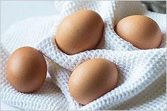 布の上に置かれた複数の卵の写真