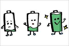 充電状態の違う乾電池のイラスト